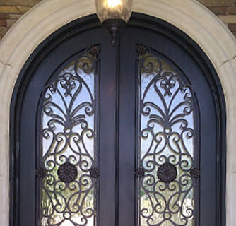 Custom Wood Wrought Iron Doors