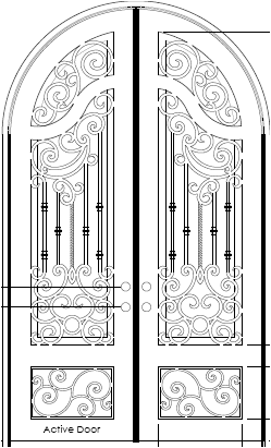 Custom Iron Door with French Curved Top Rail
