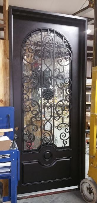 Single Iron Door with Round Panel & Round Top Window
