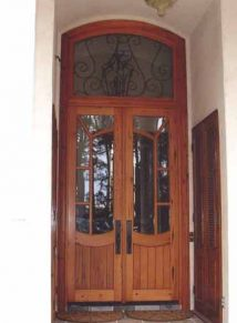 Antique door with transom