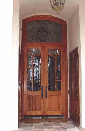 Antique door with transom