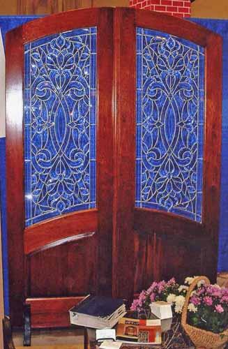 Arch top leaded glass mahogany door