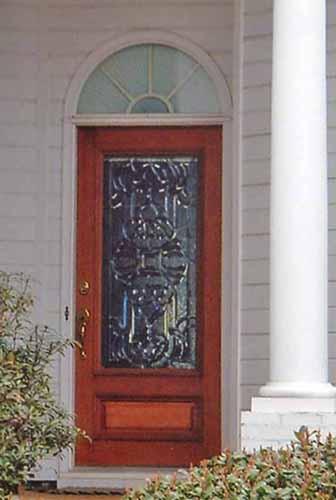 Single leaded glass door