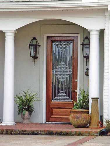 Diamond clear bevel leaded glass door
