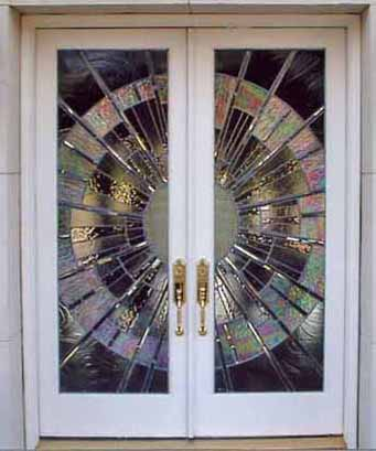 Star Burst custom Leaded Glass Door