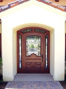 Unique Single door with iron and wrap around transom