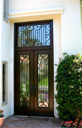 Full glass double door with iron and transom
