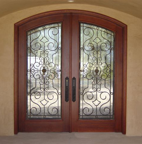 Wood and Iron double arch top doors