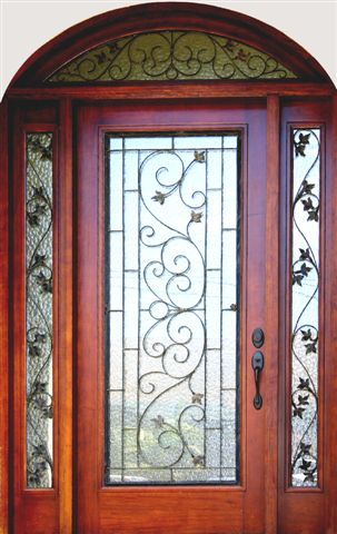 3068 Square top door with iron plus sidelites and transom
