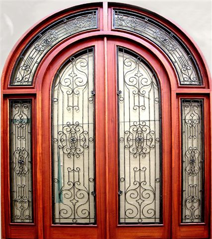 WOOD AND IRON WRAP AROUND TRANSOM