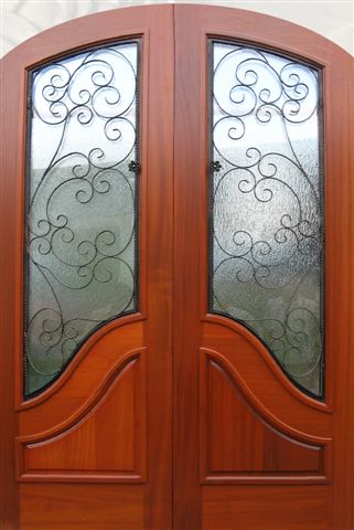 WOOD & IRON ARCH TOP DOOR WITH FRENCH CURVE PANEL