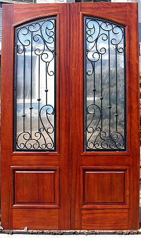 IRON & WOOD ARCH TOP DOOR WITH SQUARE PANEL
