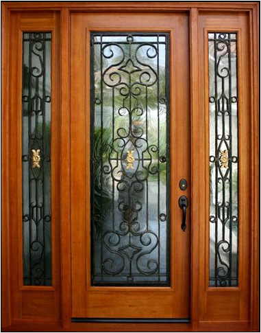 NARROW DOUBLE MAHOGANY DOOR WITH IRON
