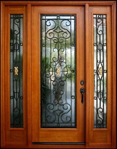 NARROW DOUBLE MAHOGANY DOOR WITH IRON
