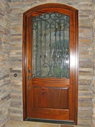 SINGLE MAHOGANY DOOR WITH IRON