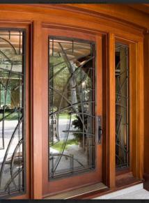 MAHOGANY DOOR WITH ART DECO IRON AND SIDELITES