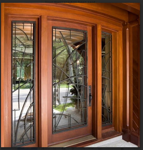 MAHOGANY DOOR WITH ART DECO IRON AND SIDELITES